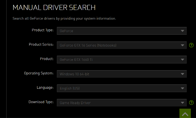 Manual Driver Search Option
